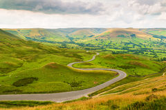 Winding Road from Mam Tor. Peak District, Derbyshire, UK Royalty Free Stock Photos