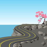 A winding road with markings among rocks and stones. Blossoming cherry tree. Sakura. View in perspective. illustration Royalty Free Stock Photo