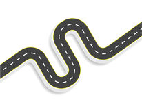 Winding road with markings. View from above. With shadow. illustration Royalty Free Stock Photos