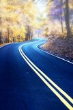 Winding road in morning fog. Winding road through fall forest in Appalachian Mountains. Colored infrared film effect Stock Photos