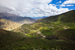 The winding road on the mountain. The winding road(ninety-nine turns) on the mountain, tibet of china Stock Images