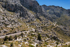 Winding road in mountain in Mallorca Royalty Free Stock Photography