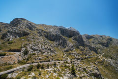 Winding road in mountain of Mallorca Royalty Free Stock Photography