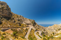Winding road in mountain at Mallorca Island Spain Royalty Free Stock Photo