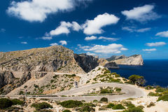 Winding road in mountain in Mallorca Spain Stock Images