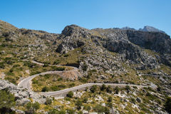 Winding road in mountain in Mallorca Stock Photo