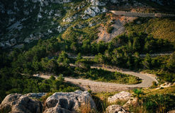 Winding road in mountain near Cape Formentor, Mallorca, Spain Stock Photos