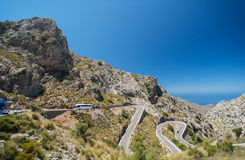 Winding road in mountain near Sacalobra in Mallorca Royalty Free Stock Image