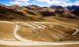 Winding road in the mountain. Winding road in Tibet mountainous area Stock Images