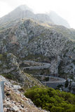 Winding road in mountain Tramuntana Stock Photography