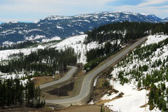 Winding road in mountain washington Stock Image