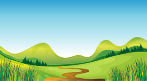 A winding road and mountains. Illustration of a winding road with the mountain on the background Royalty Free Stock Photos