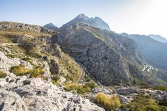Winding road in mountains on Mallorca, Spain Stock Images