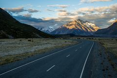 Winding road in Mt Cook National Park, New Zealand Stock Photo
