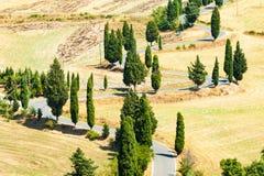 Winding road near Monticchiello and Pienza in Tuscany, Italy. Winding road in summer near Pienza in Tuscany, Italy stock photos