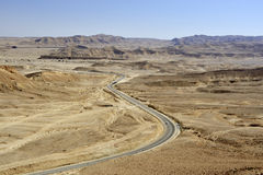 Winding road in Negev desert. Royalty Free Stock Photography