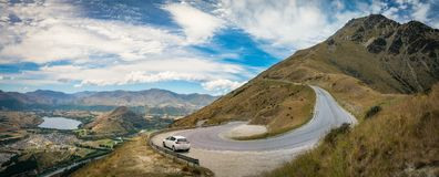 The Winding Road from Queenstown to The Remarkable Ski Area royalty free stock image