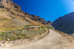 The winding road of Sani Pass, South Africa Stock Images