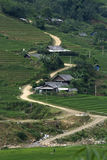 Winding road in Sapa. Hilltribe village in Sapa, Vietnam Royalty Free Stock Images