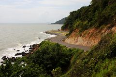 Winding road by the sea Stock Image