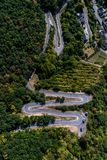Winding road serpentine from a high mountain pass in the mosel village Brodenbach Germany Aerial view Stock Photography