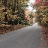 Winding Road. A shot taken in small town Maine Stock Photo