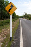Winding Road Sign Royalty Free Stock Photography