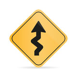 Winding Road Sign on a white background with shadow Stock Photo