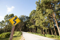 Winding road sign Stock Images