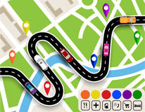 Winding road with signs. City map. Movement of vehicles. The path specifies the navigator. illustration Stock Photo