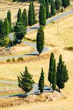 Winding road near Monticchiello and Pienza in Tuscany, Italy. Winding road in summer near Pienza in Tuscany, Italy royalty free stock images