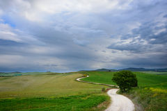 Winding road to a destination in Tuscany Royalty Free Stock Photography