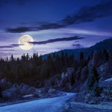 Winding road to forest in mountains at night. Autumn mountain landscape. asphalt road going to mountains passes through the ever green coniferous shaded forest Stock Image