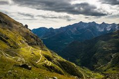 Winding road to mountain pass Stock Images