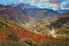Winding road to mountain pass Stock Image