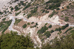 Winding road to Myrtos beach on Kefalonia Island Royalty Free Stock Photos