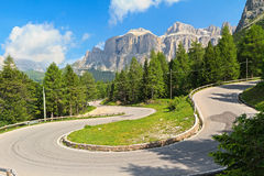 Winding road to Pordoi pass Royalty Free Stock Photo
