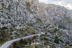 Winding road to Sa Calobra Royalty Free Stock Images