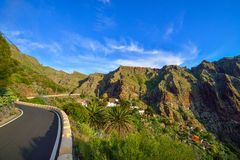 Winding road towards Masca village, Tenerife, Spain Stock Image