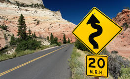 Winding Road (Traffic Sign) in Zion National Park. USA Royalty Free Stock Image