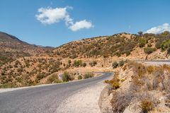 Winding road with trees in red Atlas Mountains royalty free stock images