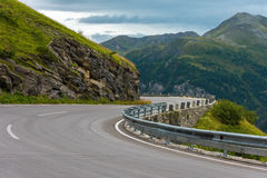 Winding Road Turn in Mountains Royalty Free Stock Photo
