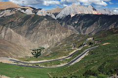 The winding road up the mountain,Tibet Royalty Free Stock Images