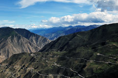 The winding road up the mountain,Tibet Royalty Free Stock Photography