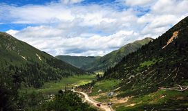The winding road up the mountain,Tibet Stock Photos