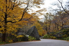 Winding road up the mountain to Smugglers Notch royalty free stock image