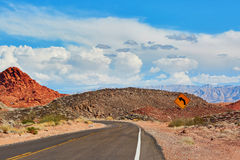 Winding road in Valley of the Fire national park in USA Royalty Free Stock Image