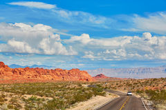 Winding road in Valley of the Fire national park in USA Stock Images