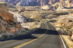 Winding road in Valley of Fire Stock Images