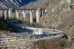 Winding road and viaduct Stock Photos